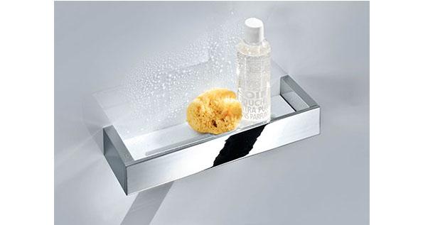Porte verre tablettes en verre grs guest room supply - Tablette douche verre ...
