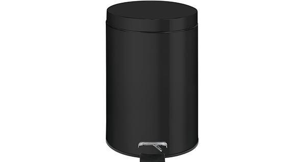 poubelle-a-pédale-noire-inox-3L